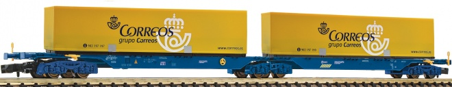 Articulated container car  of CORREOS type Sggmrs<br /><a href='images/pictures/Fleischmann/Fleischmann-825336.jpg' target='_blank'>Full size image</a>