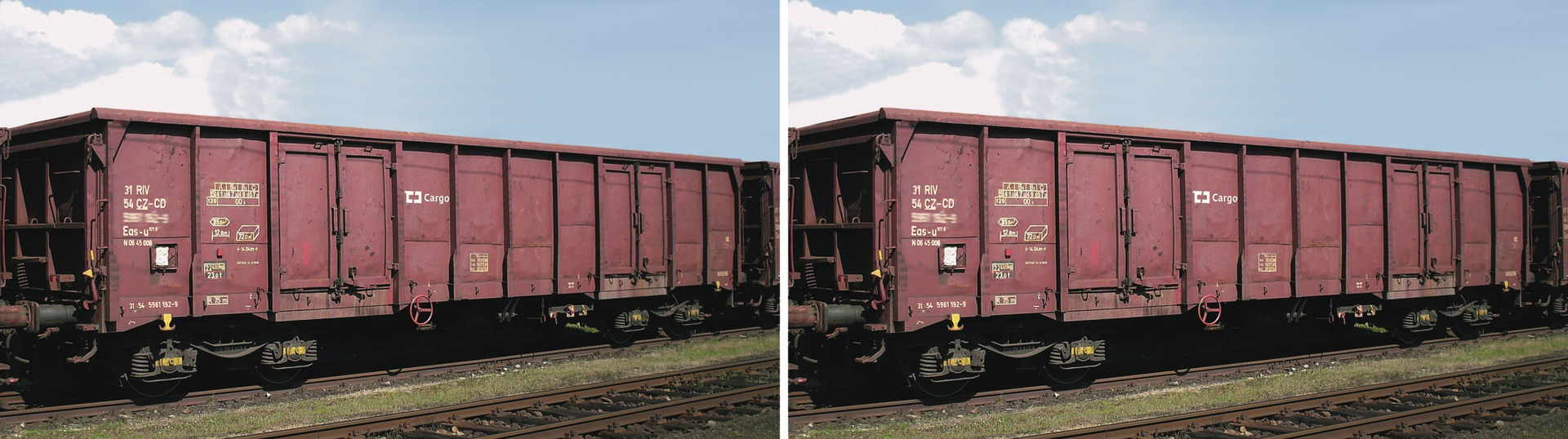 Set of 2 gondola cars type Eas in CD Cargo livery