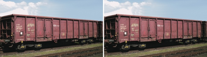 Set of 2 gondola cars type Eas in CD Cargo livery<br /><a href='images/pictures/Roco/161514.jpg' target='_blank'>Full size image</a>