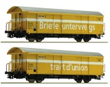 Set of 2 postal freight cars of Swisspost with tail lights (3 rail AC)