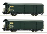 Set of 2 postal freight cars of Swisspost
