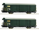 Set of 2 postal freight cars of Swisspost with tail light