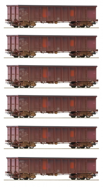 Set of 6 Weathered Gondola cars<br /><a href='images/pictures/Roco/Roco-75975.jpg' target='_blank'>Full size image</a>