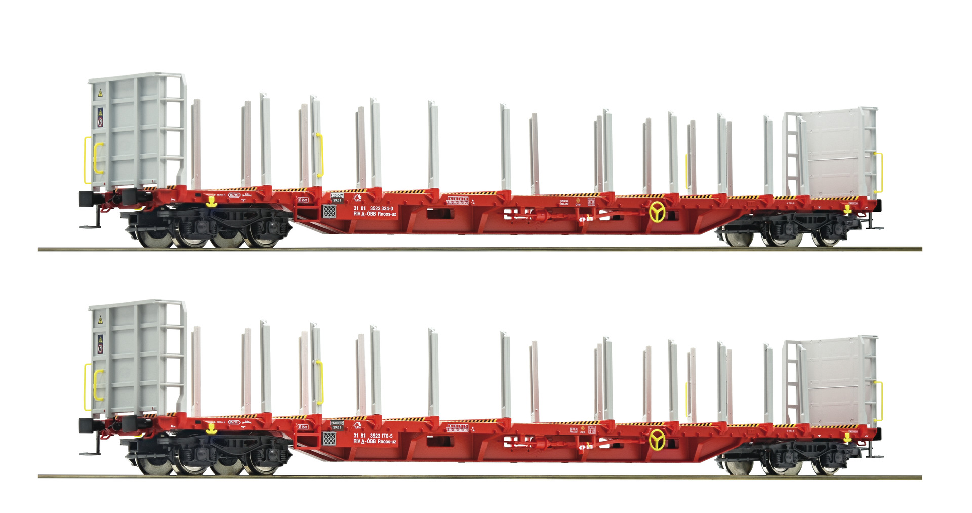 Set of 2 cars for timber transport